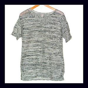 J Jill 100%  Linen Gray Short Sleeve Sweater M